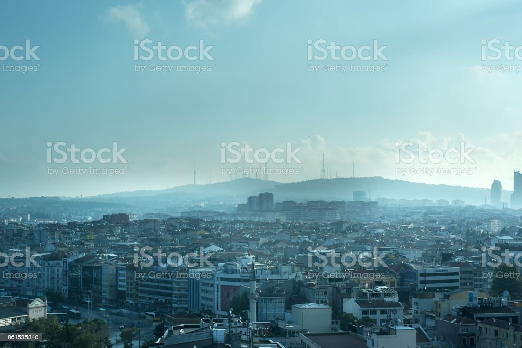 Endless Packed House Roofs with clouds in istanbul stock photo