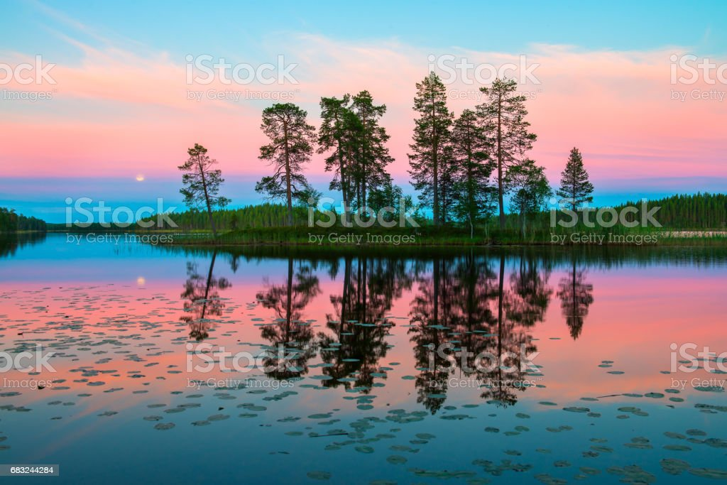 Endless polar day in the Arctic. Night time in July. Beautiful pink sky and its reflection in the glossy water of the lake Lizenzfreies stock-foto