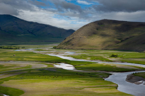 Endless river valleys of Mongolia Central Mongolia. The Orkhon river near the town of Kharkhorin. independent mongolia stock pictures, royalty-free photos & images