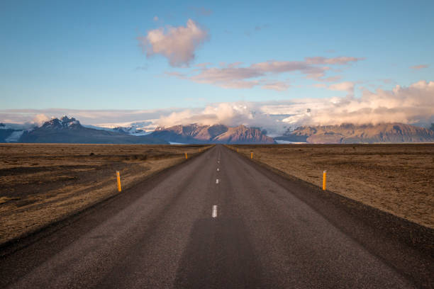 endless road on iceland stock photo