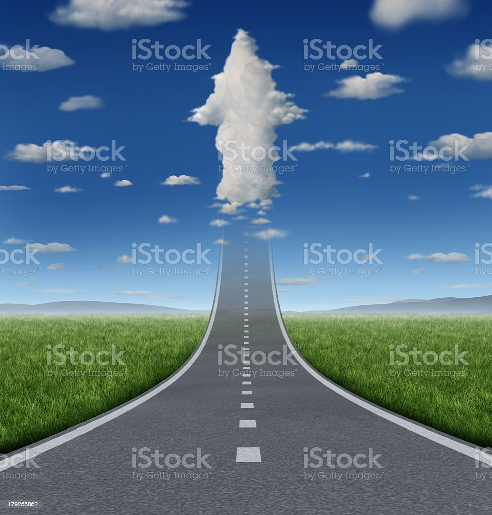 Endless road straightaway implying there are no limits stock photo