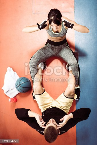 istock Endless trainings in cross training facility for strong abs 629064770