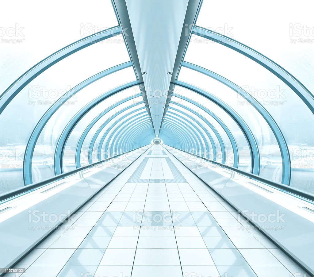 endless vanishing walkway with transparent wall in cool business royalty-free stock photo