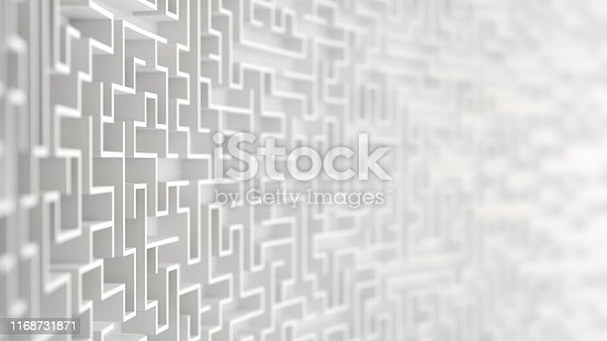 Endless white labyrinth maze background 3d illustration with Depth of Field.