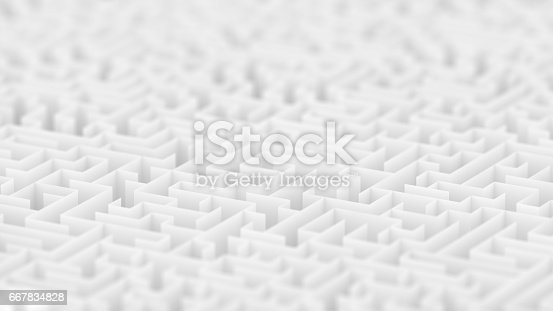 istock Endless white maze background with Depth of Field. 667834828