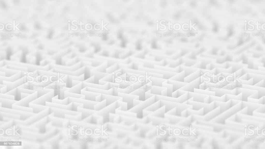 Endless white maze background with Depth of Field. stock photo