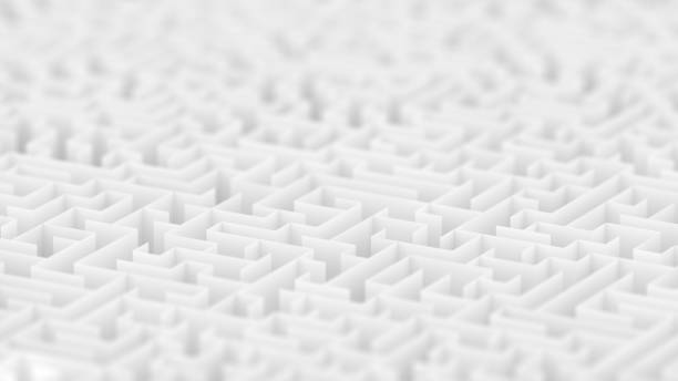 endless white maze background with depth of field. - maze stock photos and pictures