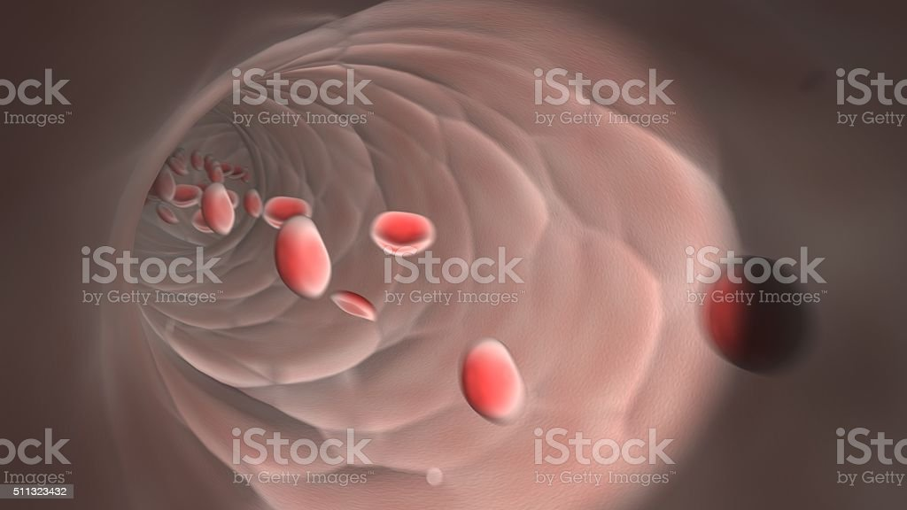 Endoscopic view of flowing red blood cells in a vein stock photo