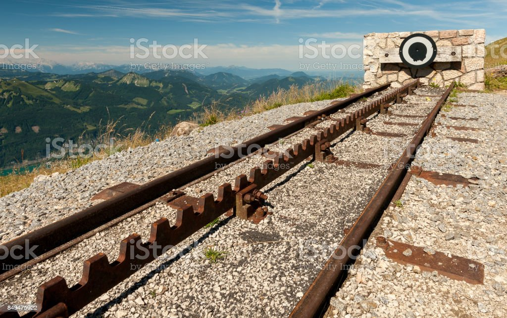 Endpoint of a rack railway stock photo