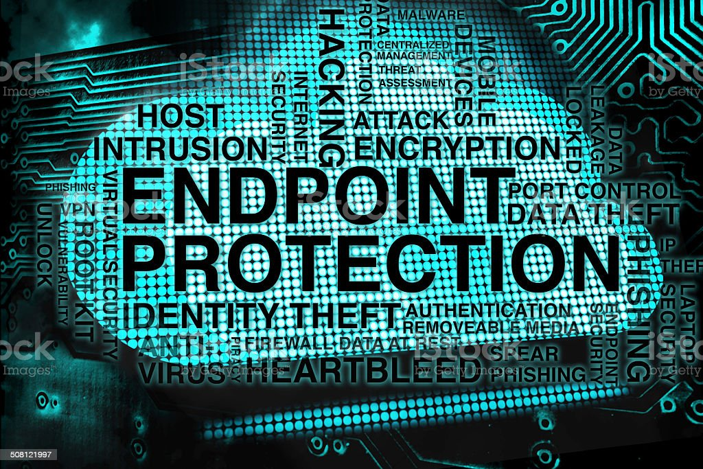 Endpoint Protection Keyword Cloud on Blue Cloud stock photo