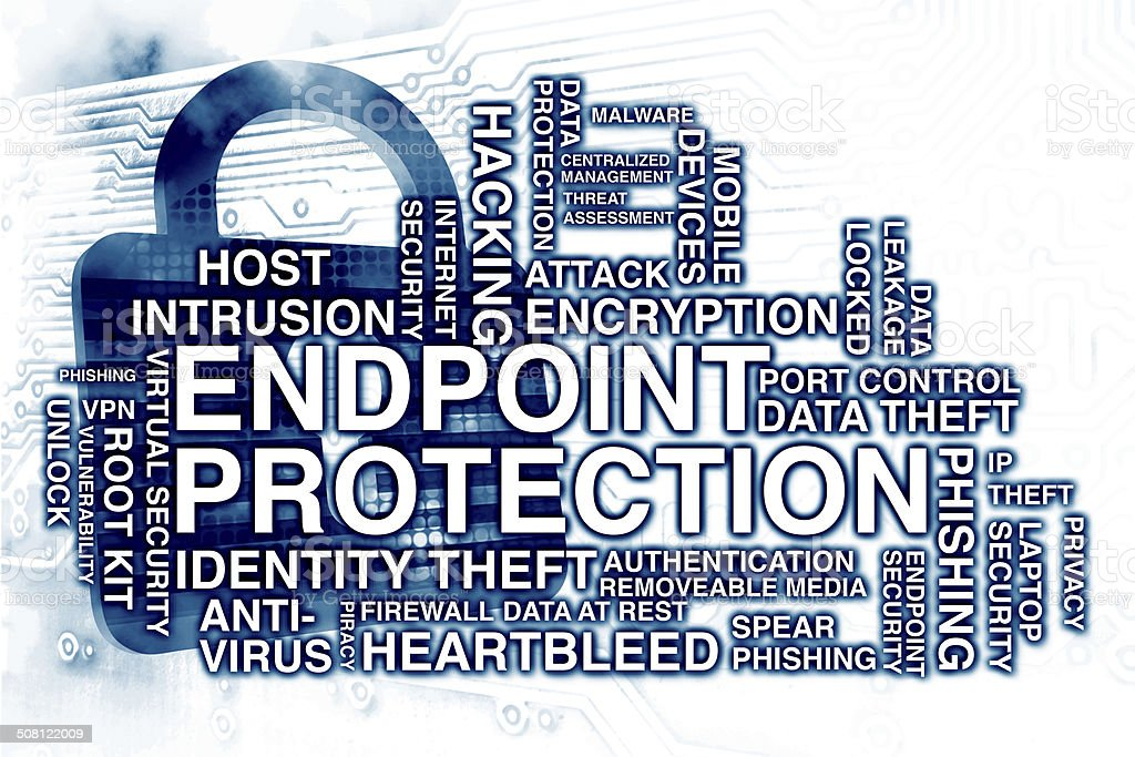 Endpoint Protection Tag Cloud stock photo