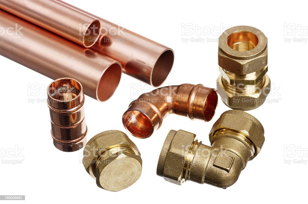 Ends Of Copper Tubes For Plumbing With Various Fittings royalty-free stock photo