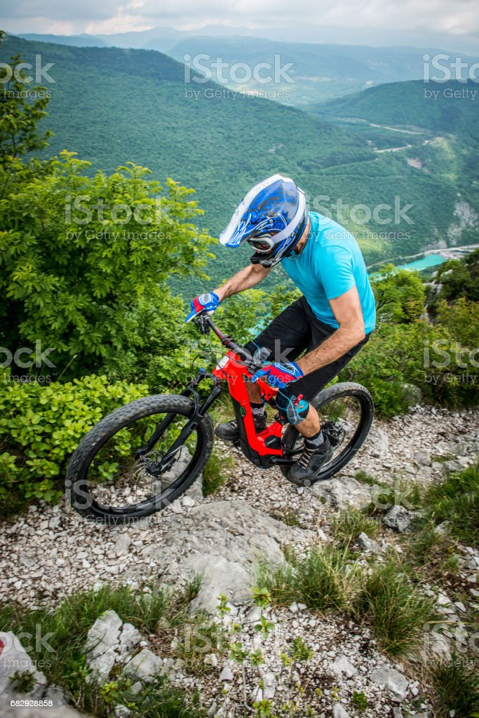Enduro All Mountain E bike rider - adrenaline MTB trail royalty-free stock photo