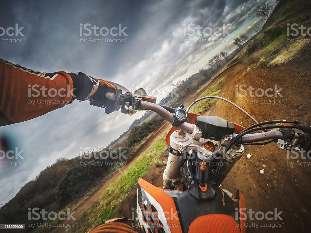 Enduro Motocross motorbike racing offroad stock photo
