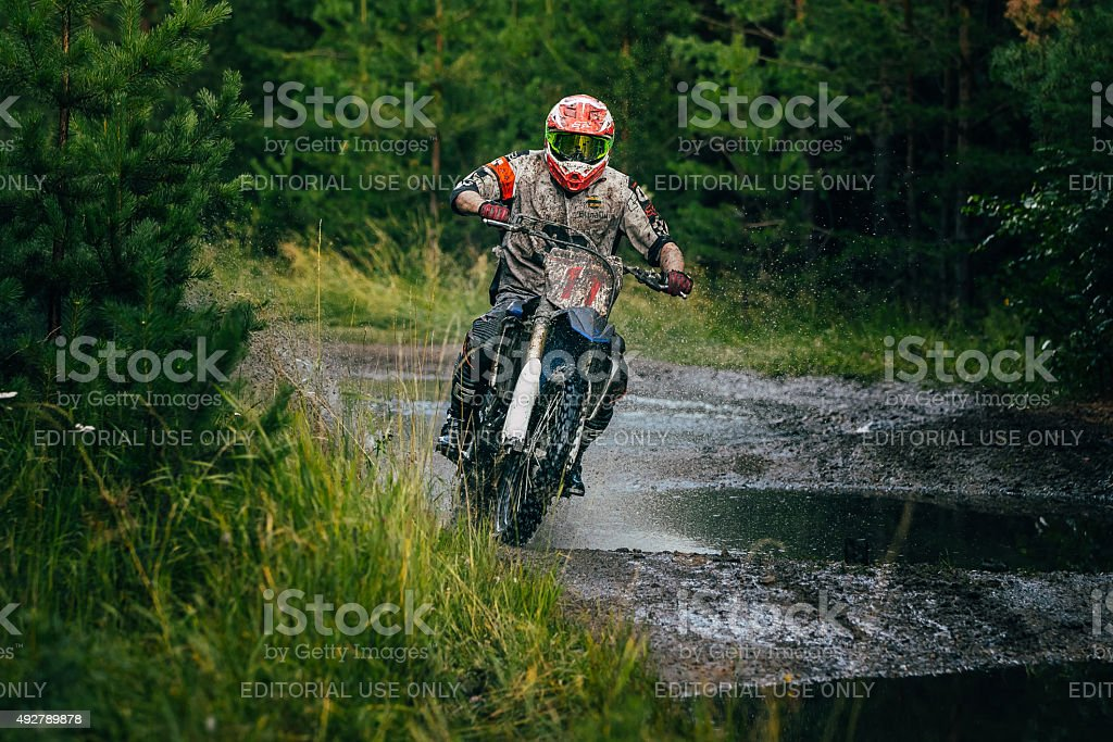 Enduro racer on track stock photo