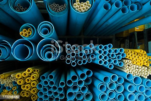 Blue and yellow pvc tubes