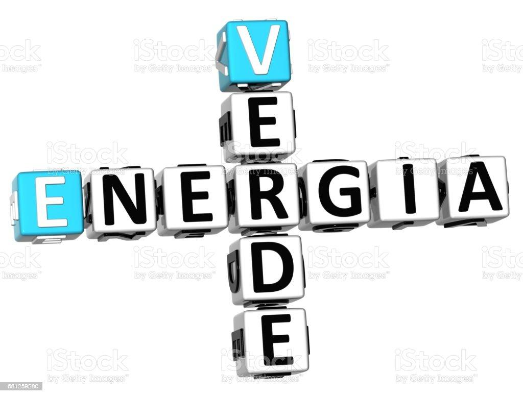 3D Energia Verde Crossword stock photo
