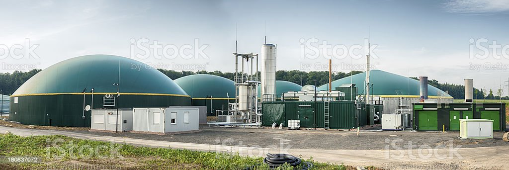 Energiewende, Biomass energy plant, Germany Panoramashot of a biogas plant in a rural landscape Agriculture Stock Photo
