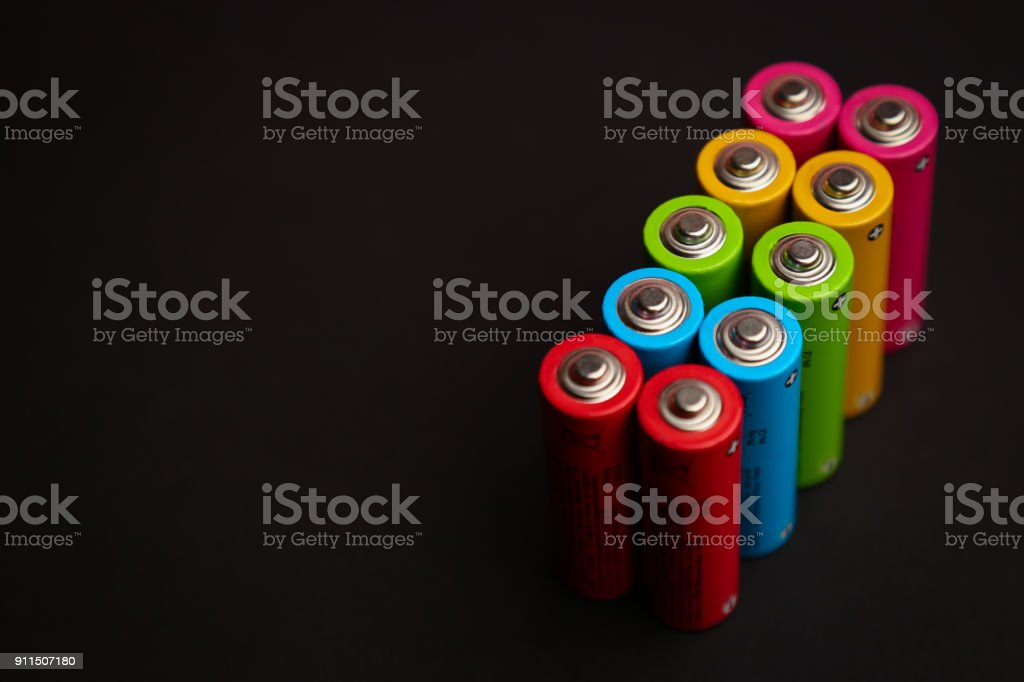 Energy abstract background set of colored alkaline AA size batte stock photo