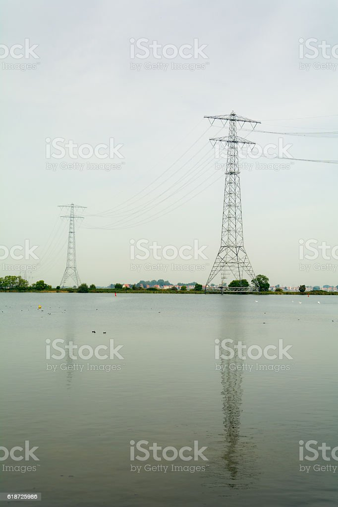 Energy and reflection passing Amsterdam main water mass the IJ stock photo