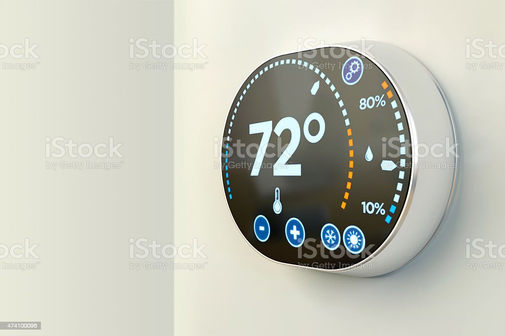 Energy automation system: Fahrenheit temperature multimedia system stock photo