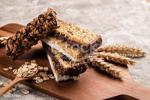 istock Energy bars for healthy snacking or pre training meal full of carbs. 1049737954