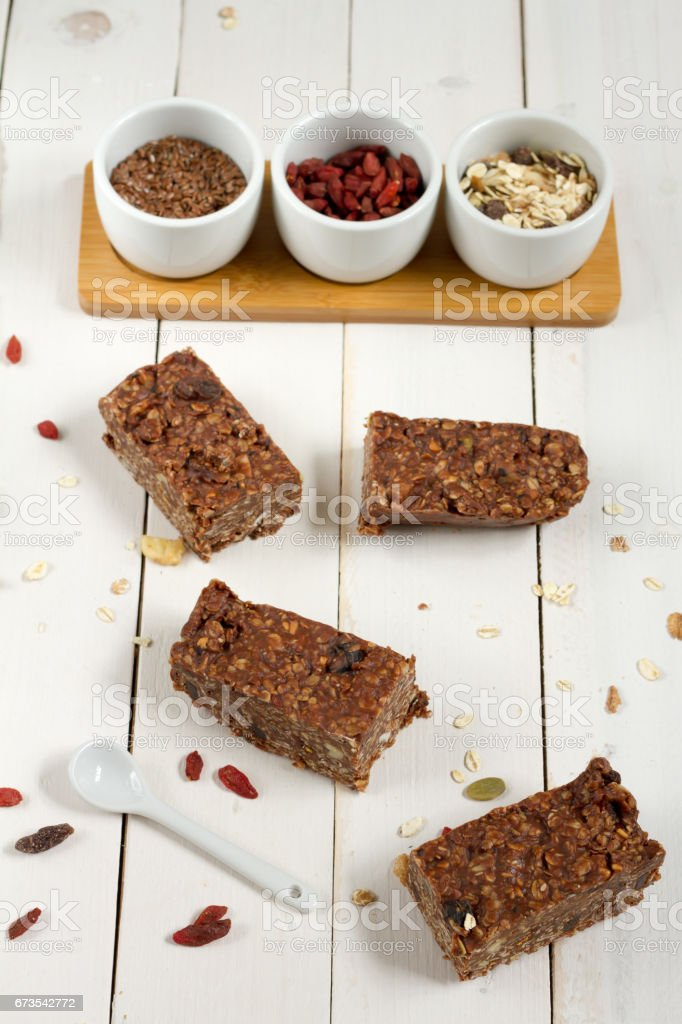 Energy bars with oat, Goji berries, sesame, chocolate and honey. royalty-free stock photo