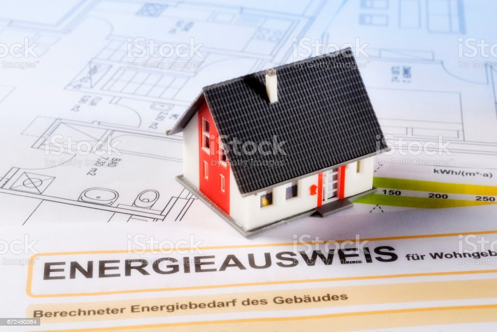 Energieausweis und Haus stock photo