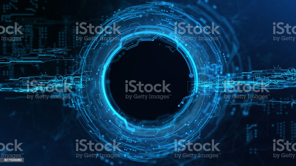 Energy Circle Hologram on black background stock photo