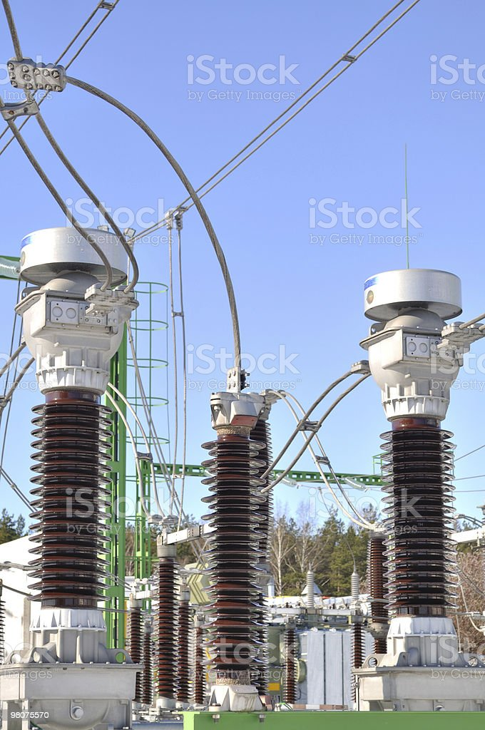 Energy coils. Power station. Electricity relay. royalty-free stock photo