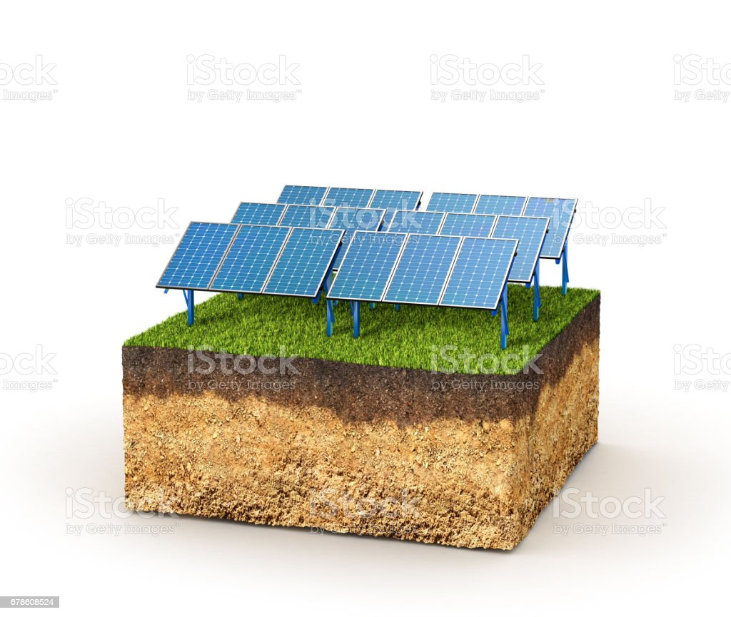 Energy concept. Cross section of ground with solar panels. 3d illustration stock photo