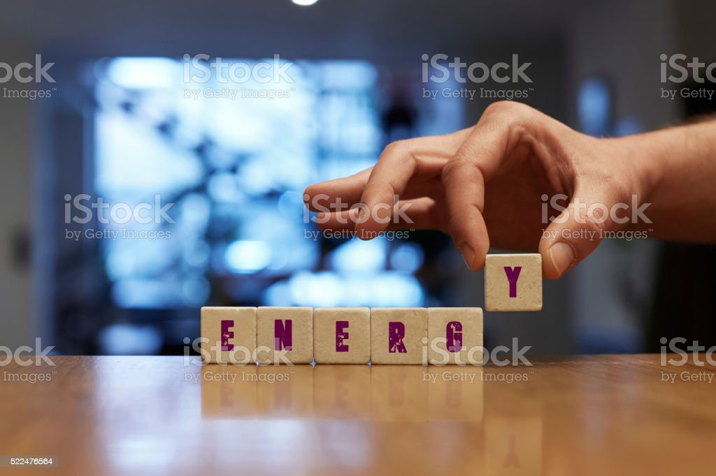 Energy Concept with Alphabet Blocks stock photo