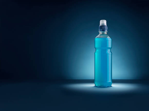 energy drink blue copy space - Stock Image stock photo