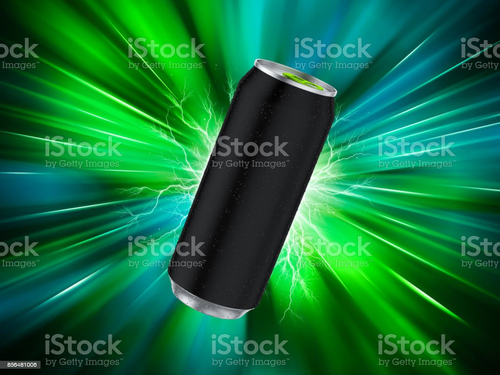 Energy Drink Can Template. Green background. 3d render stock photo