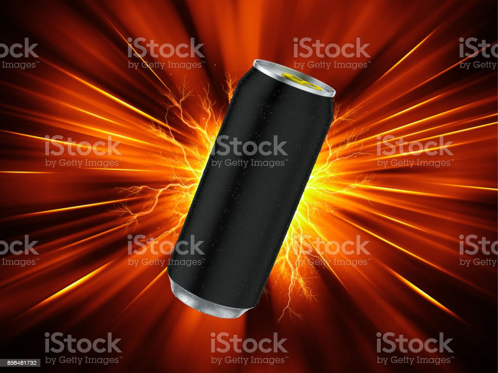 Energy Drink Can Template. Red background. 3d render stock photo