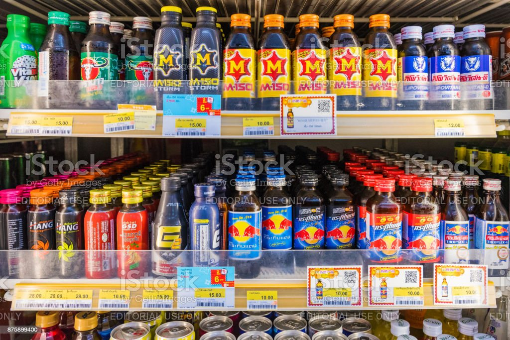 Energy drink section in a convenience store stock photo