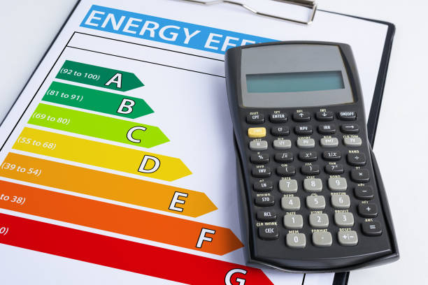 energy efficiency concept with energy rating chart - energy performance certificate stock photos and pictures