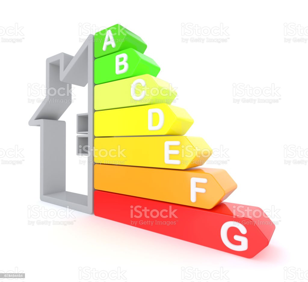 Energy efficiency graph royalty-free stock photo
