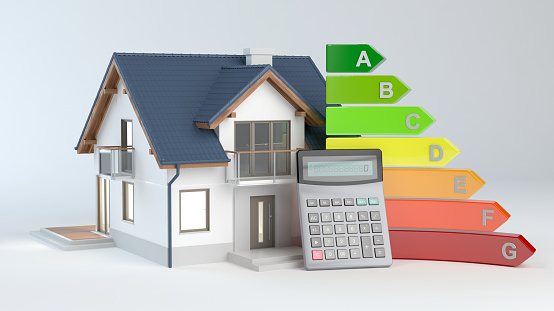 istock Energy Efficiency - House No.9 and calculator 1088802498
