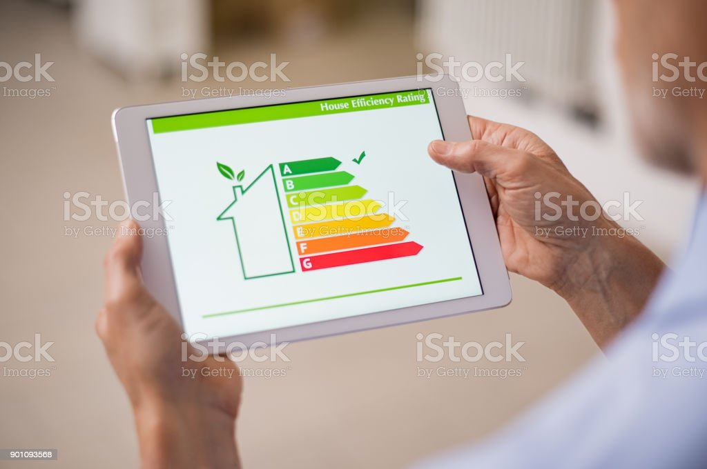 Energy efficiency house - Foto stock royalty-free di Adulto