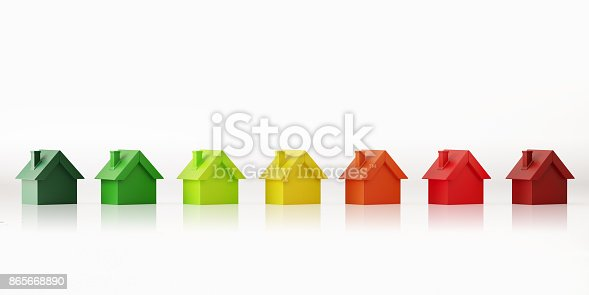Tiny house models forming an energy efficiency icon on white backgground. Panoramic composition with copy space. Clipping path is included. Energy efficiency concept.