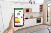 Energy efficiency mobile app on screen. Ecology, eco house concept