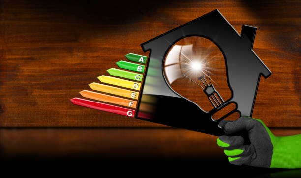 energy efficiency - model house and light bulb - energy performance certificate stock photos and pictures