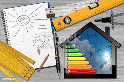 904490858istockphoto Energy Efficiency - Project House with solar Panels 659198260