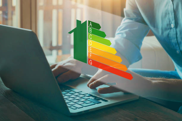 energy efficiency rating concept, eco home stock photo