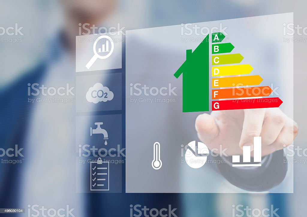 Energy efficiency rating of buildings, sustainable development stock photo