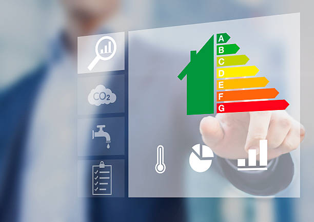 energy efficiency rating of buildings, sustainable development - energy performance certificate stock photos and pictures
