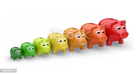 energy efficiency rating performance piggy bank 3D