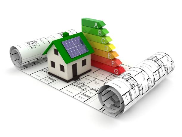 energy efficiency saving house home rating concept - energy performance certificate stock photos and pictures