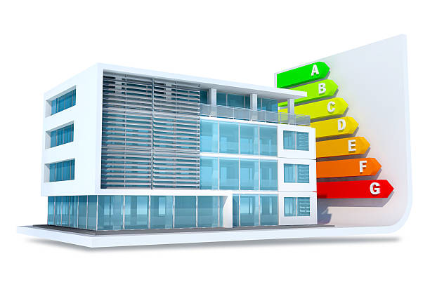 energy efficient building with colored class bars - energy performance certificate stock photos and pictures